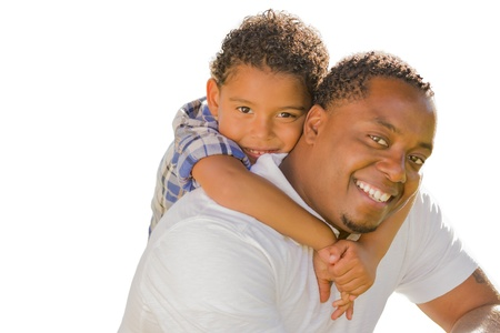multi ethnic children: Happy African American Father and Mixed Race Son Playing Piggyback Isolated On A White Background. Stock Photo