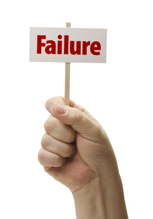 Failure Sign In Male Fist Isolated On A White Background  photo