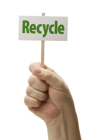 nonpolluting: Recycle Sign In Male Fist Isolated On A White Background