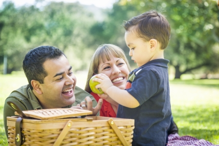 Happy Mixed Race Family Enjoy a Picnic At The Park.