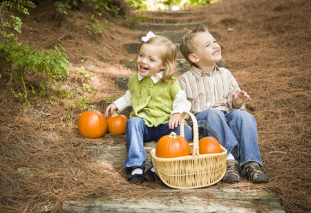Cute Young Brother and Sister Children Sitting on Wood Steps Laughing with Pumpkins in a Basket. photo