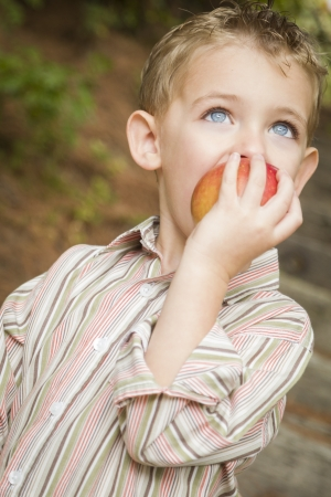 Adorable Child Boy Eating a Delicious Red Apple Outside. photo