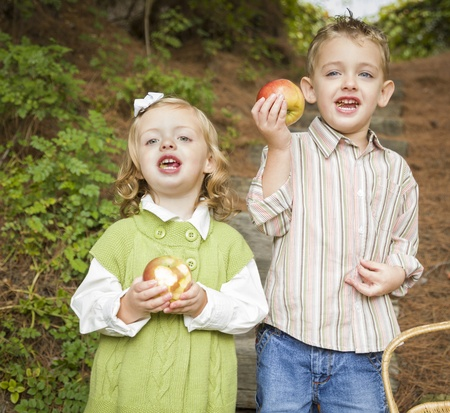 Two Adorable Children Eating Delicious Red Apples Outside. photo