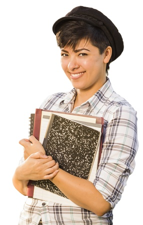 mexican girl: Portrait of Pretty Mixed Race Female Student Holding Books Isolated on a White Background.