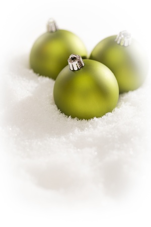 Beautiful Matt Green Christmas Ornaments on Snow Flakes Room For Your Own Text. photo