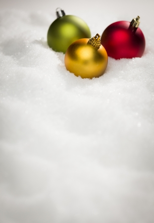 Beautiful Various Colored Christmas Ornaments on Snow Flakes Room For Your Own Text. photo
