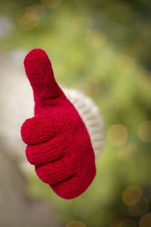 Woman in Sweater with Seasonal Red Mittens Holding Out a Thumb Up Sign with Her Hand. Stock Photo - 16580273