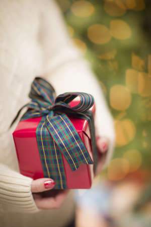 beautifully wrapped: Woman Wearing A Sweater and Seasonal Red Mittens Against an Abstract Green and Golden Background Holding A Beautifully Wrapped Christmas Gift with Narrow Depth of Field. Stock Photo