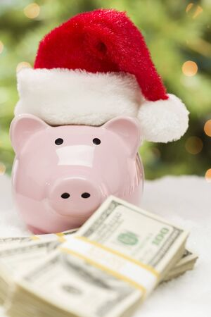 Pink Piggy Bank Wearing Santa Hat Near Stacks of Hundreds of Dollars of Money on Snowflakes. photo
