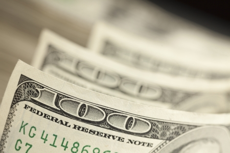 An Abstract of One Hundred Dollar Bills with Narrow Depth of Field. Stock Photo