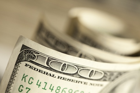 one dollar bill: An Abstract of One Hundred Dollar Bills with Narrow Depth of Field  Stock Photo
