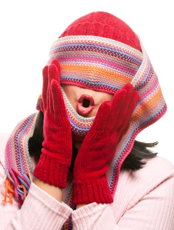 Attractive Woman With Colorful Scarf Over Eyes Isolated on a White Background. Stock Photo