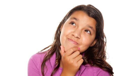 mexican girl: Pretty Hispanic Girl Thinking Isolated on a White Background.