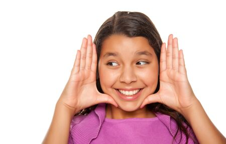 mexican girl: Pretty Hispanic Girl Framing Her Face with Hands Portrait Isolated on a White Background. Stock Photo