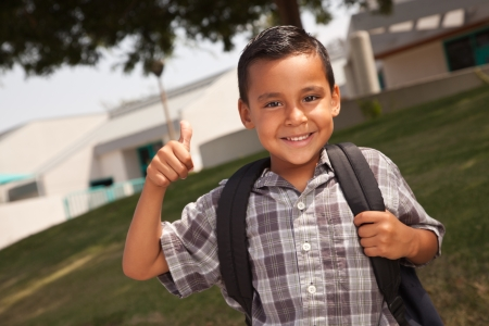 hispanics mexicans: Happy Young Hispanic School Boy with Thumbs Up one Morning.