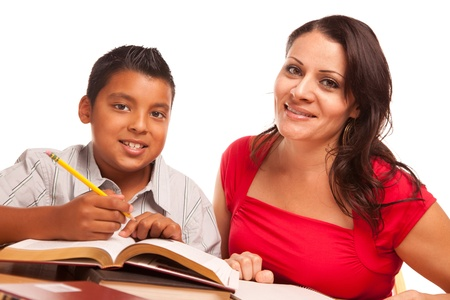 latinos: Attractive Hispanic Mother and Son Studying Isolated on a White Background.