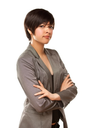 mexican girl: Pretty Mixed Race Young Adult Female Isolated on a White Background.