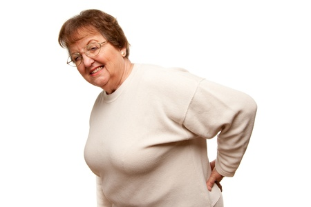 back ache: Senior Woman with Backache Isolated on a White Background.
