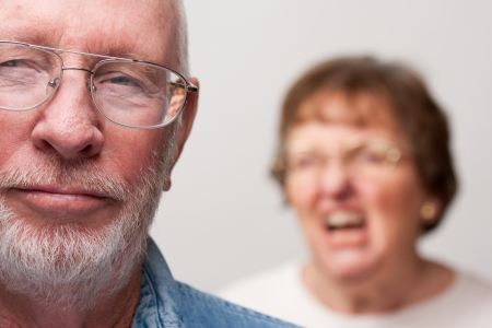 arguments: Angry Senior Couple in a Terrible Argument Stock Photo
