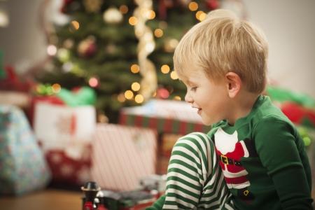 Cute Young Boy Enjoying Christmas Morning Near The Tree. Stock Photo - 16829975