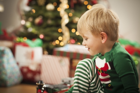 Cute Young Boy Enjoying Christmas Morning Near The Tree. Stock Photo - 16829975