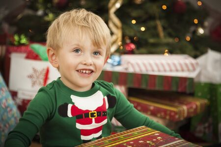 Cute Young Boy Enjoying Christmas Morning Near The Tree. Stock Photo - 16829992