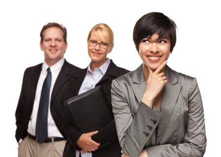 Attractive Businesswoman Smiling with Team Isolated on a White Background. photo