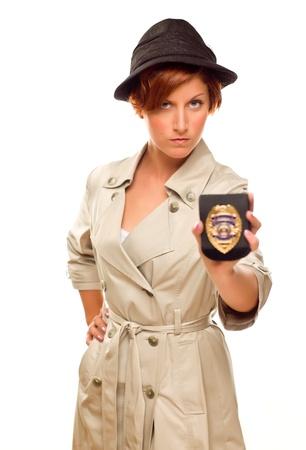 Female Detective With Official Badge In Trenchcoat Isolated on a White Background. Stock Photo - 17032891