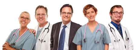 Small Group of Doctors or Nurses and Businessman Isolated on a White Background. photo