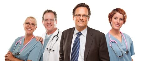Sourire d'affaires avec Médecins mâles et femelles ou infirmières isolé sur un fond blanc. Banque d'images - 17001726