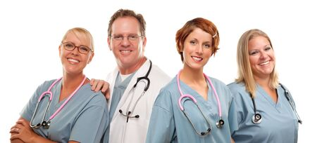 Group of Doctors or Nurses Isolated on a White Background. photo