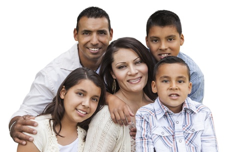 single family home: Happy Attractive Hispanic Family Portrait Isolated on a White Background. Stock Photo
