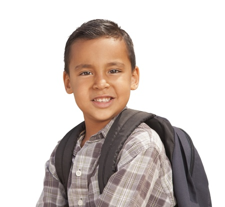 Happy Young Hispanic Boy with Backpack Ready for School Isolated on a White Background. photo