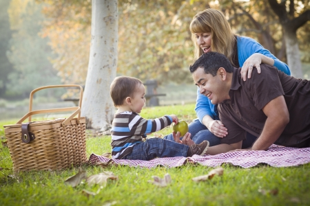 mother father baby: Happy Young Mixed Race Ethnic Family Having a Picnic In The Park.