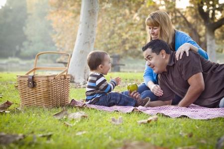 family picnic: Familia feliz joven raza étnica mezclada con un picnic en el parque.