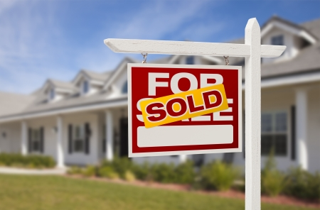 real estate sold: For Sale Sold Real Estate Sign and New House.