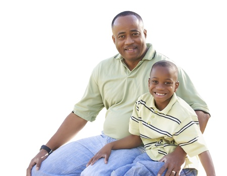 Happy African American Man and Child Isolated on a White Background. Stock Photo - 17537690