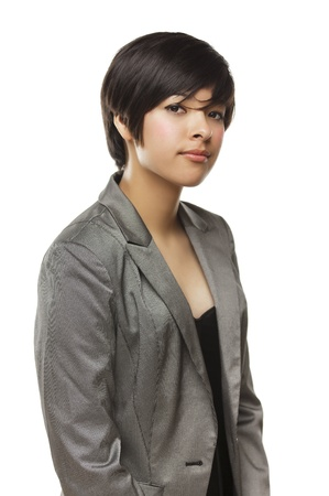 latina: Pretty Mixed Race Young Adult Woman Isolated on a White Background.