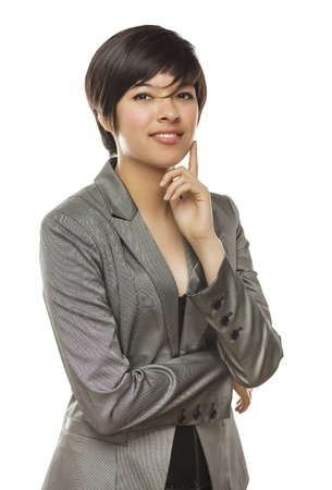 serious business: Pretty Mixed Race Young Adult Woman Isolated on a White Background.