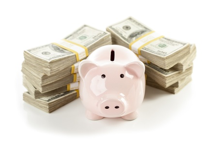 Pink Piggy Bank with Stacks of Hundreds of Dollars Isolated on a White Background. Stock Photo - 17980309