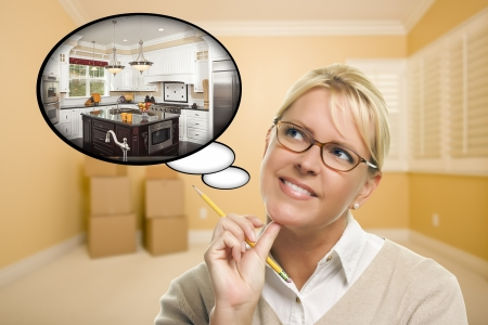 Attractive Woman in Empty Room with Thought Bubble of a New Kitchen Design. photo