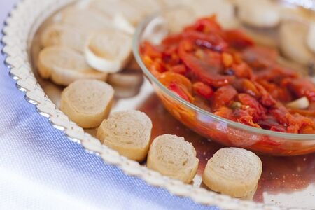 epicurean: Sourdough Slices and Peppers on Serving Tray.
