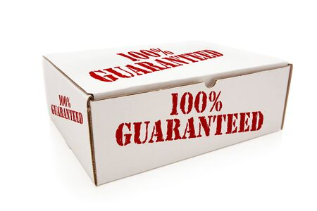 merchandise: White Box with the Phrase 100% Guaranteed on the Sides Isolated on a White Background.