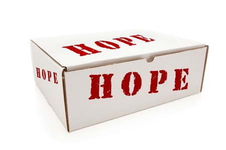 White Box with the Word Hope on the Sides Isolated on a White Background. Stock Photo - 18412239