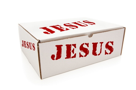 god box: White Box with the Word Jesus on the Sides Isolated on a White Background.