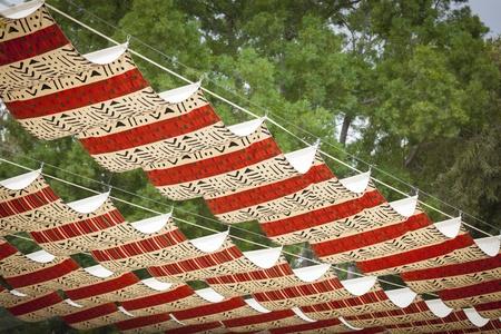 Beautiful Decorative Cloth Patio Coverings. Stockfoto