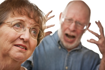 Angry Senior Couple in a Terrible Argument Stock Photo