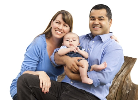 Happy Attractive Mixed Race Young Family Isolated on White. Stock Photo