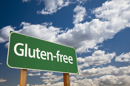 Gluten-free Green Road Sign Over Dramatic Blue Sky and Clouds. Stock Photo - 21100468