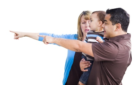 Attractive Mixed Race Couple Pointing With Son Isolated on a White Background. photo